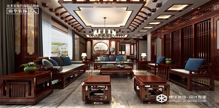 新中式风格-射阳·世外江南-别墅-470㎡装修实景效果图
